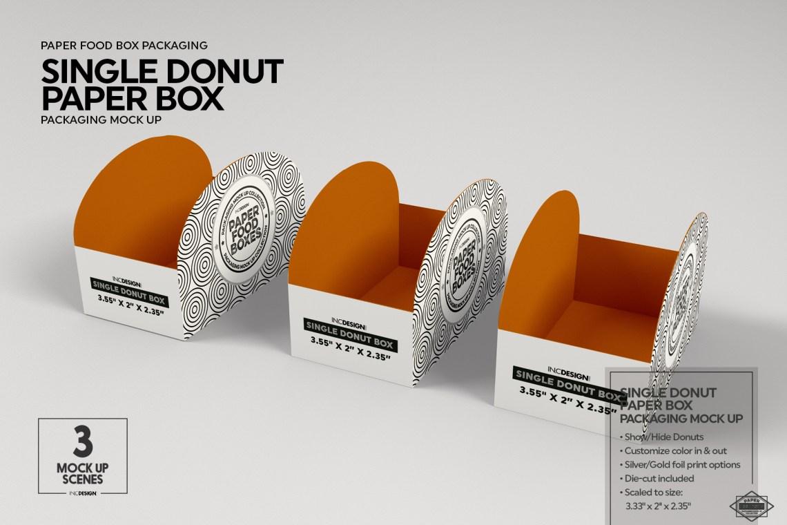 Download Single Donut Box Packaging Mockup