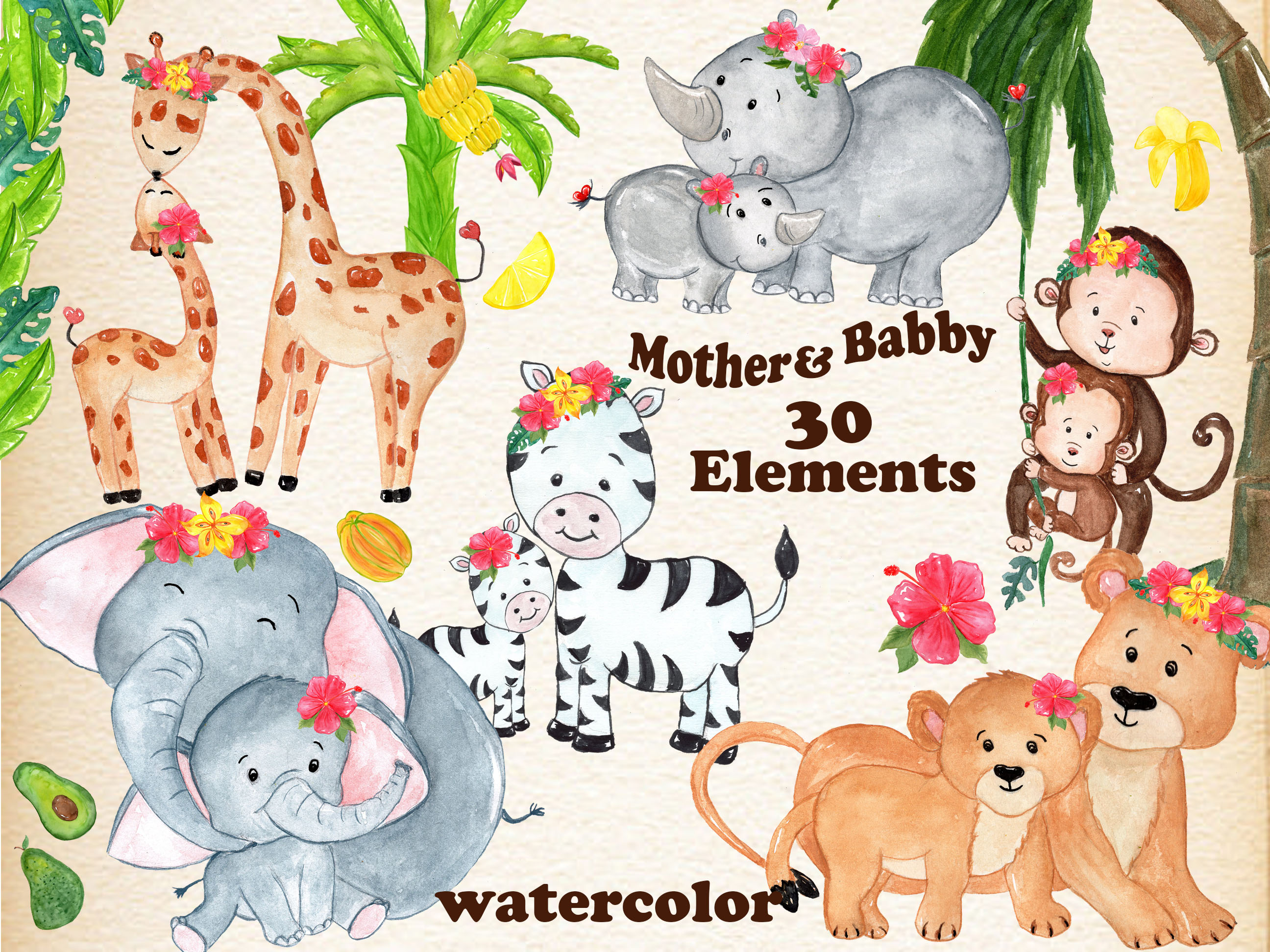 Mother And Baby Animals Clipart