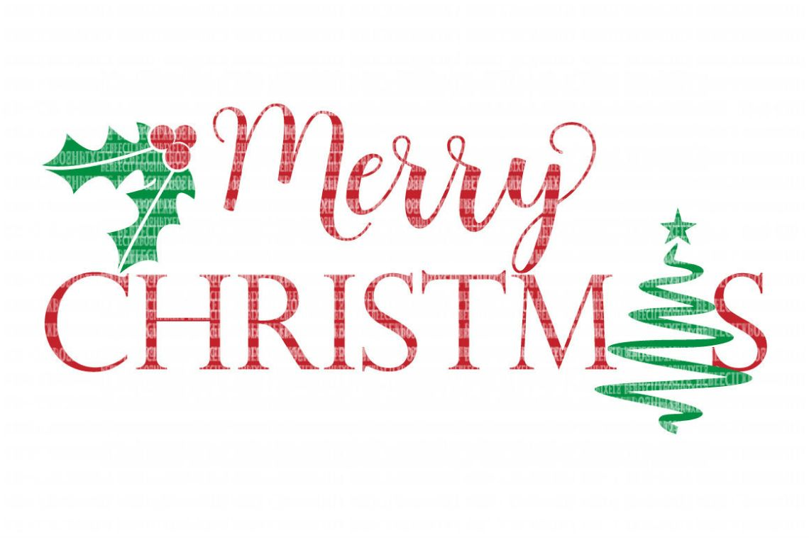 Download Merry Christmas Tree Holly SVG Files Cut Files Heat ...