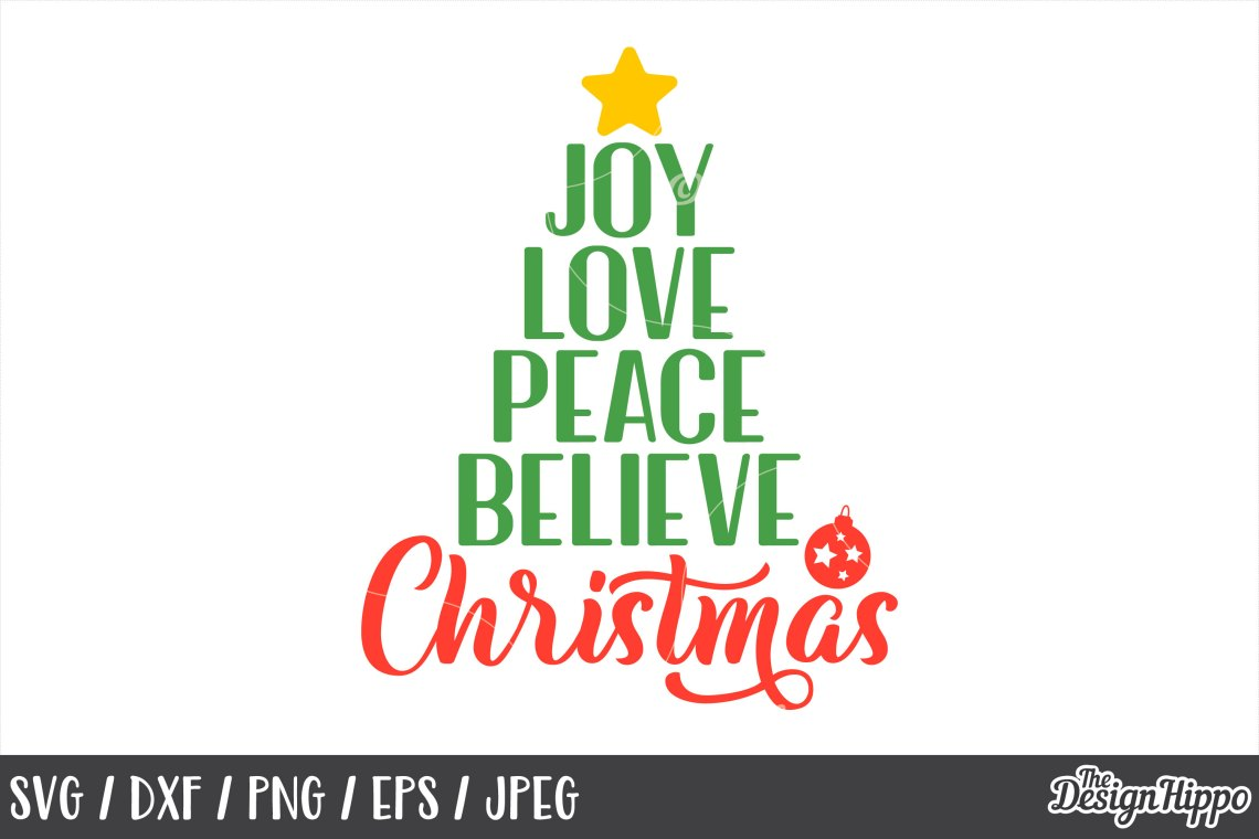 Download Joy Love Peace Believe Christmas, Bauble, SVG, PNG, DXF File