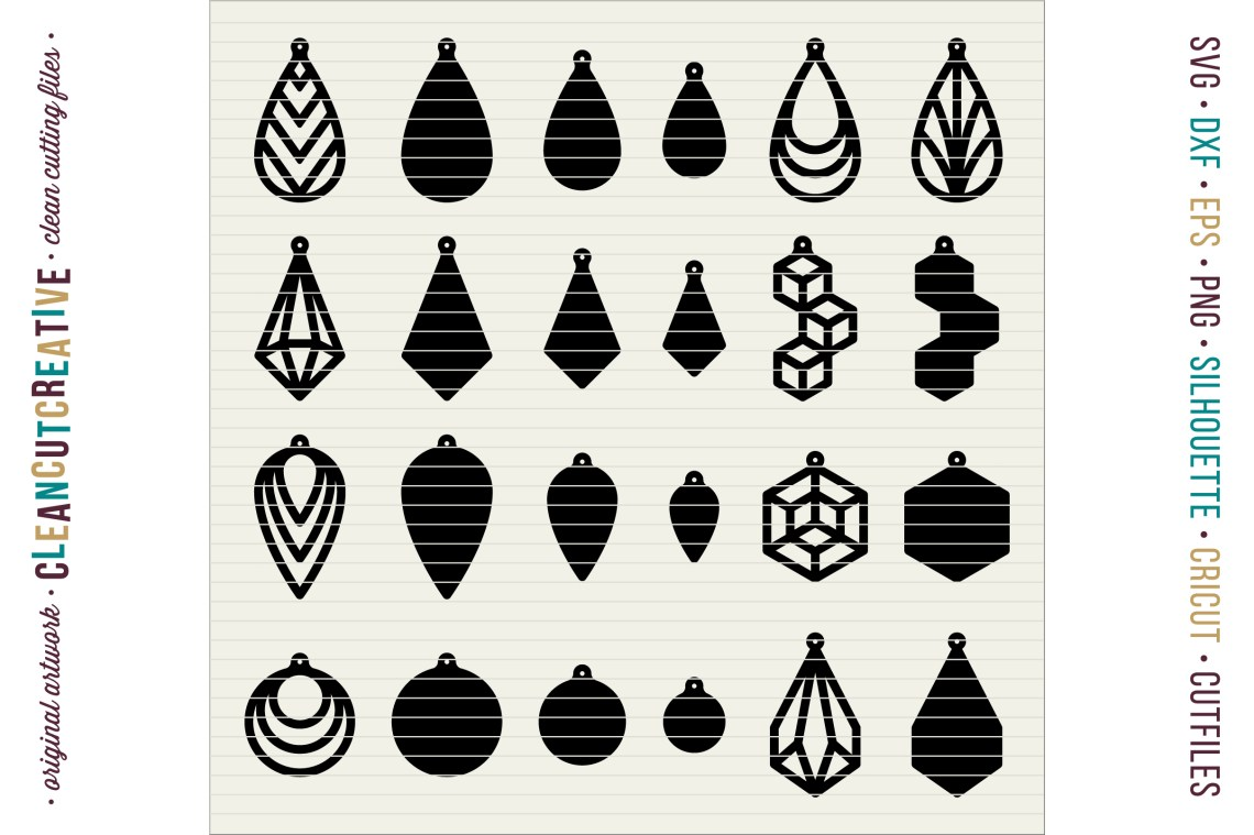 Download Set of 24 Faux Leather Earrings - SVG DXF EPS PNG - Cricut ...