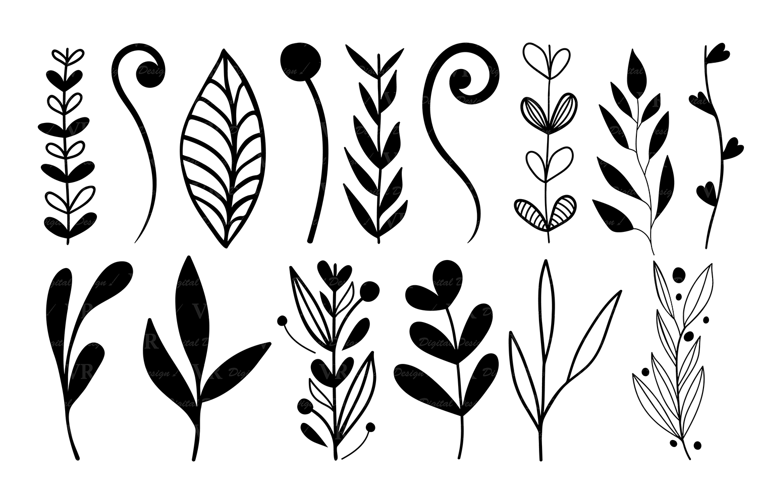 Wreaths Clipart Hand Drawn Black Design Elements Digital
