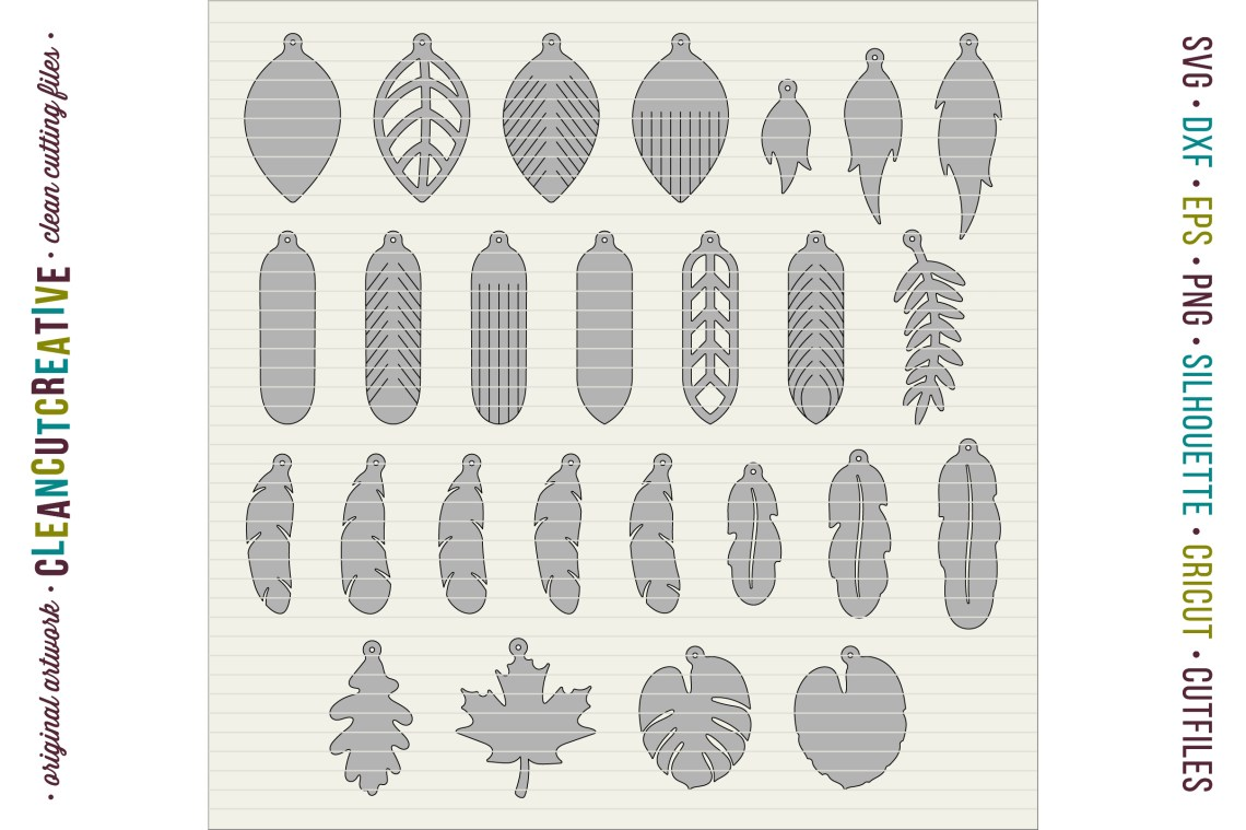 Download Set of 26 Faux Leather Earrings - SVG DXF EPS PNG - Cricut ...