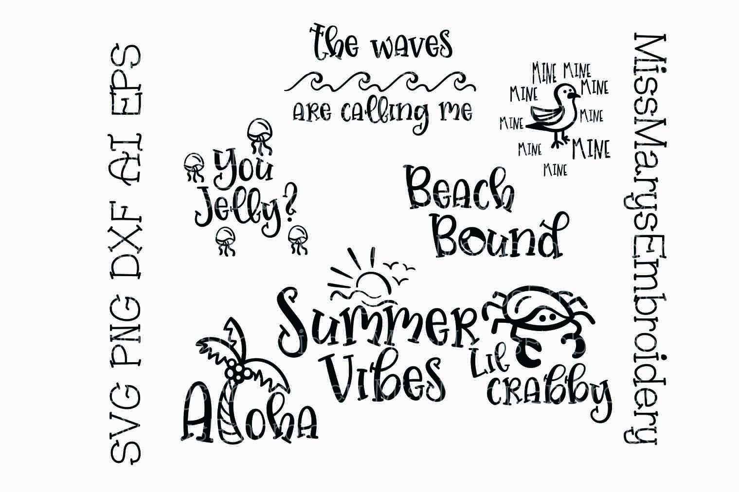 Summer Beach Sayings Bundle Svg Cutting File Dxf Ai Eps