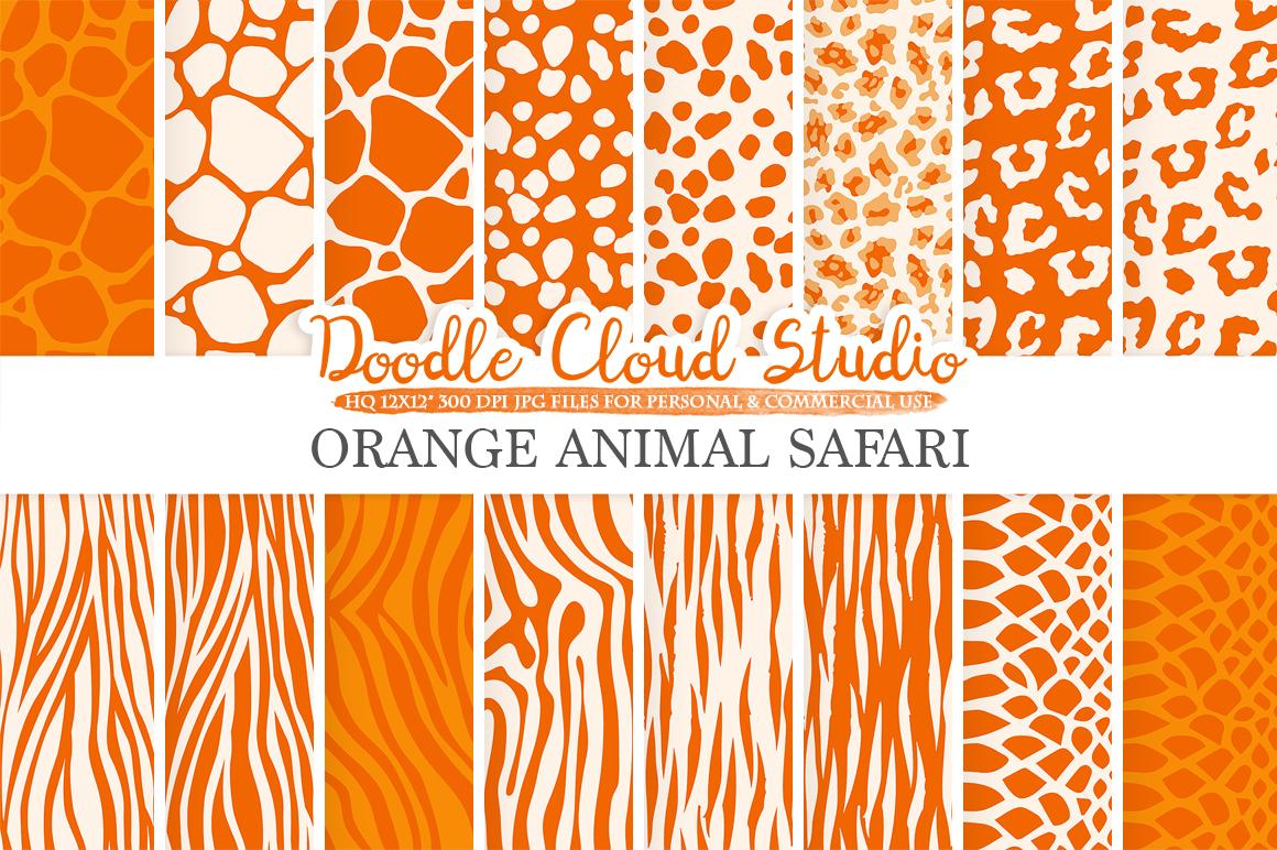 Orange Animal Safari Digital Paper Fur Pattern Giraffe Zebra Leopard Snake Tiger Backgrounds
