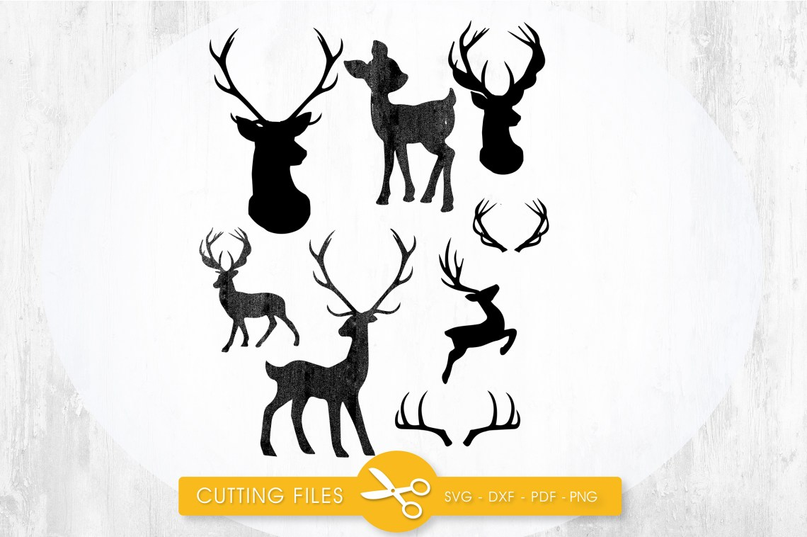 Download Deer Silhouettes cutting files svg, dxf, pdf, eps included ...