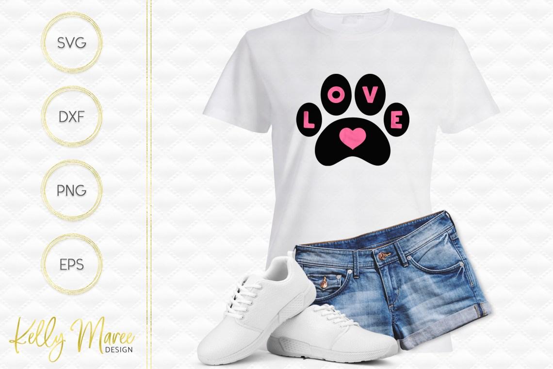 Download Love Heart Dog Paw SVG File