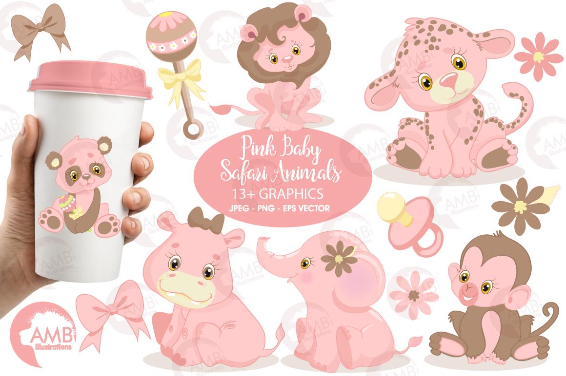 Pink Safari Baby Animals Clipart Graphics Illustrations