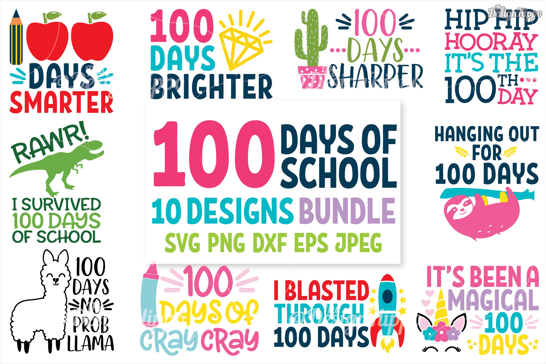 100 Days Of School Svg 10 Designs Bundle Cut Files