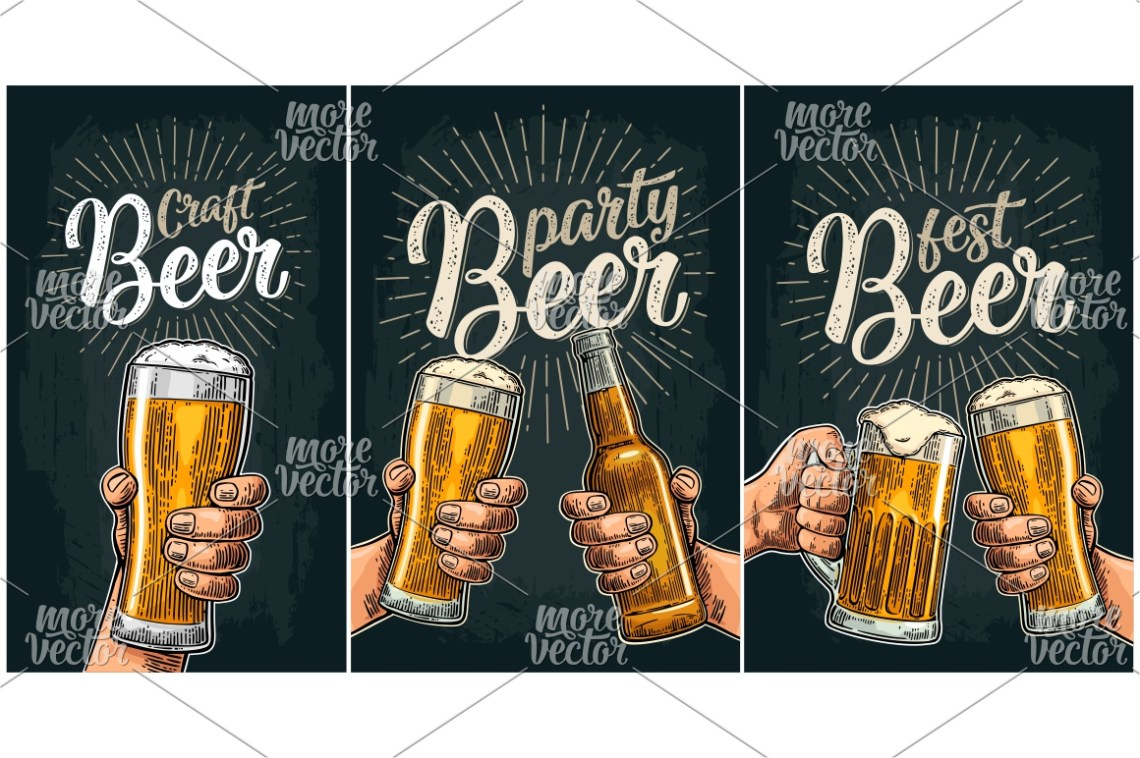 Download Two male hands holding and clinking beer glass and bottle ...