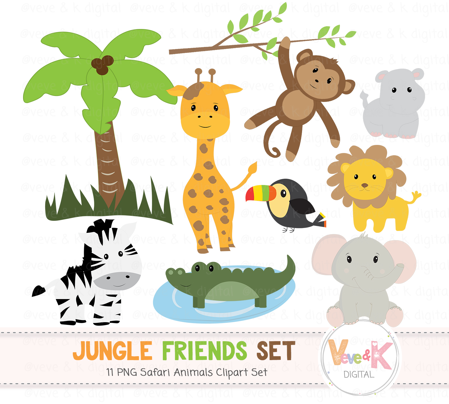 Safari Jungle Animals Clip Art African Animals Clipart Jungle Clipart Baby Animals Safari