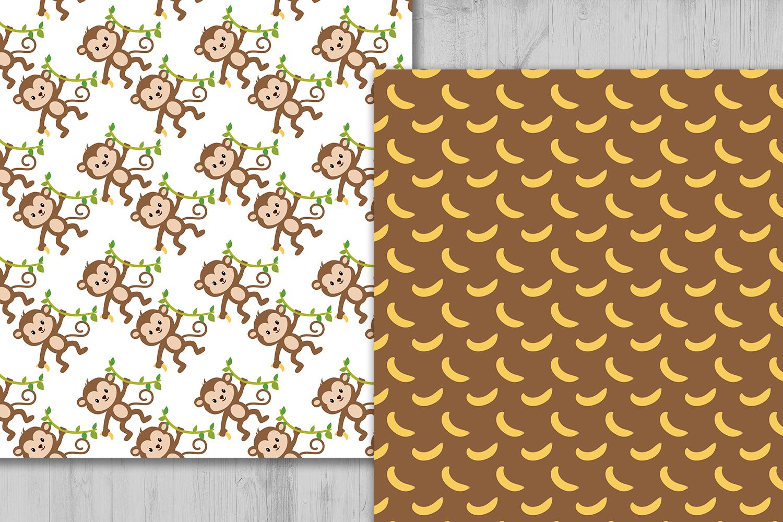 Monkey Digital Paper Animals Background Banana Pattern Jungle Scrapbooking Papers Safari