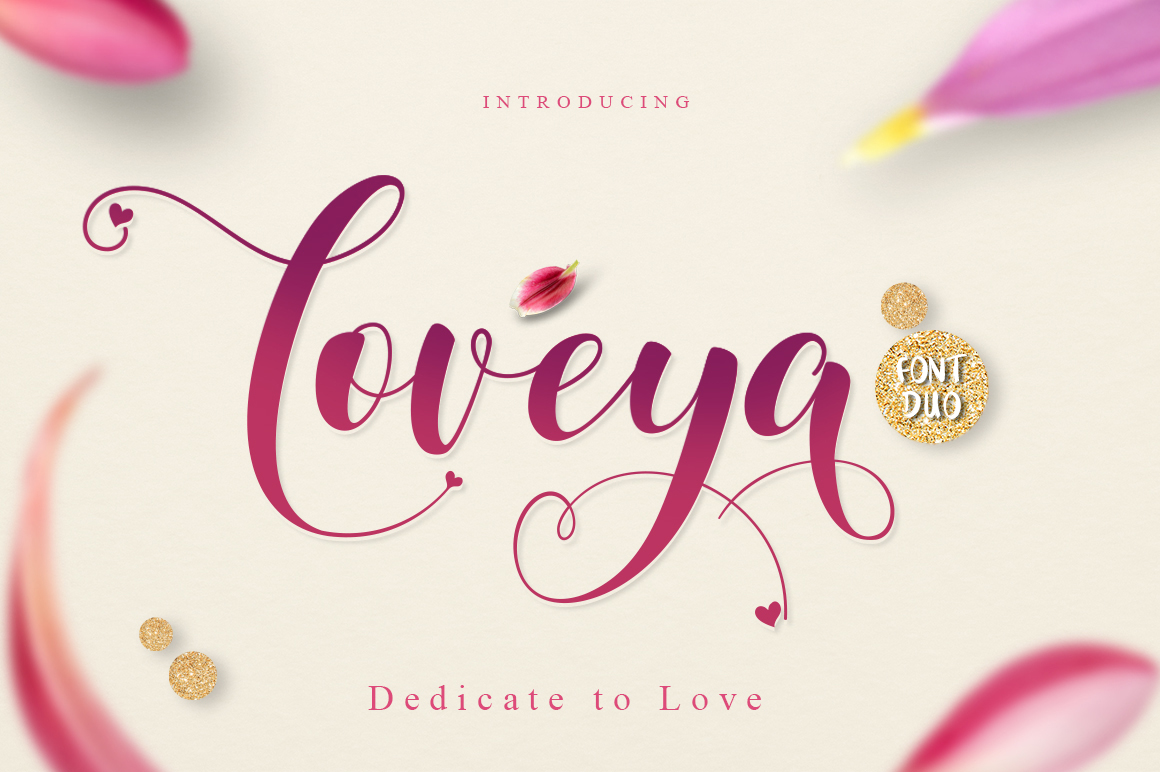 Loveya Script (Font Duo + Extras) example 1