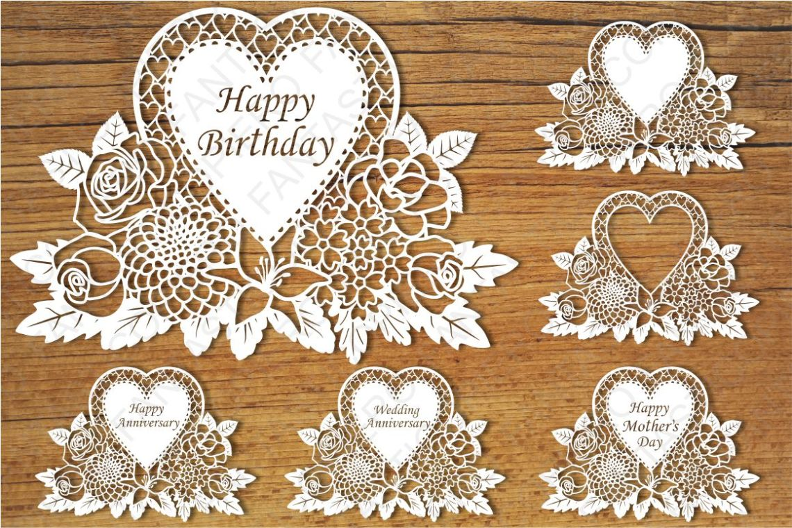 Download Floral Greeting Card SVG files for Silhouette and Cricut.