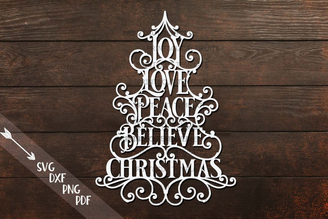 Download Joy Love Peace Believe Christmas svg dxf pdf cut template ...