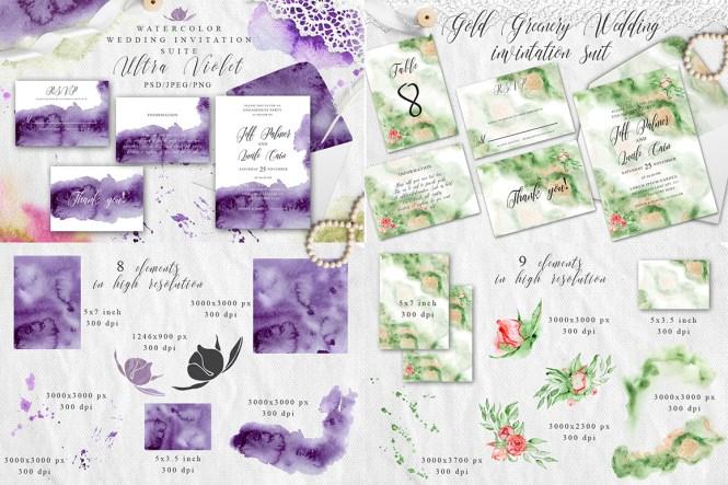 Watercolor Wedding Invitations Suits Giant Bundle