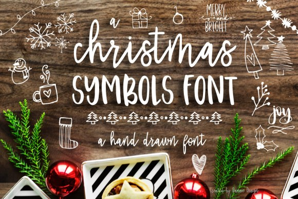 Christmas Symbols Font by Dansie Design