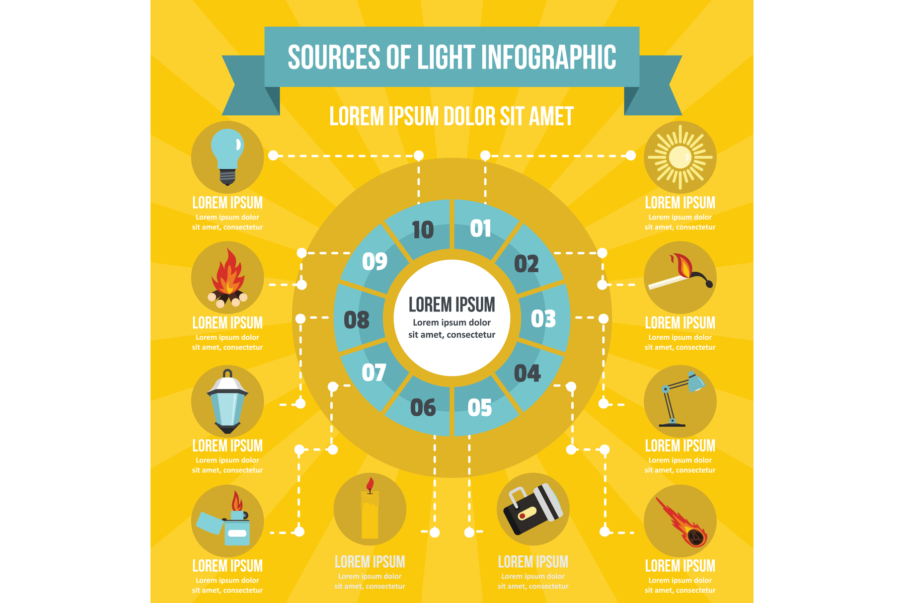 Sources Of Light Infographic Concept Flat Style