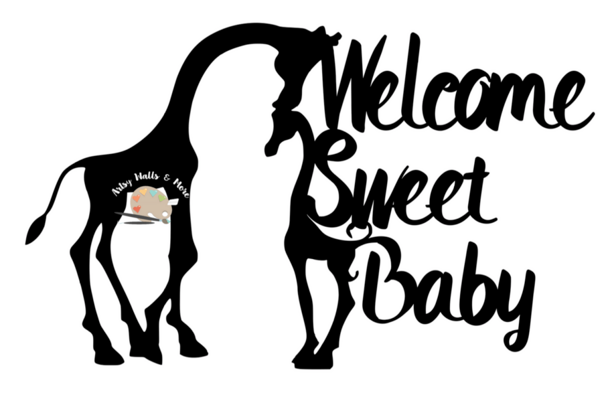 Giraffe Baby Shower Cake Topper Svg Welcome Sweet Baby Svg