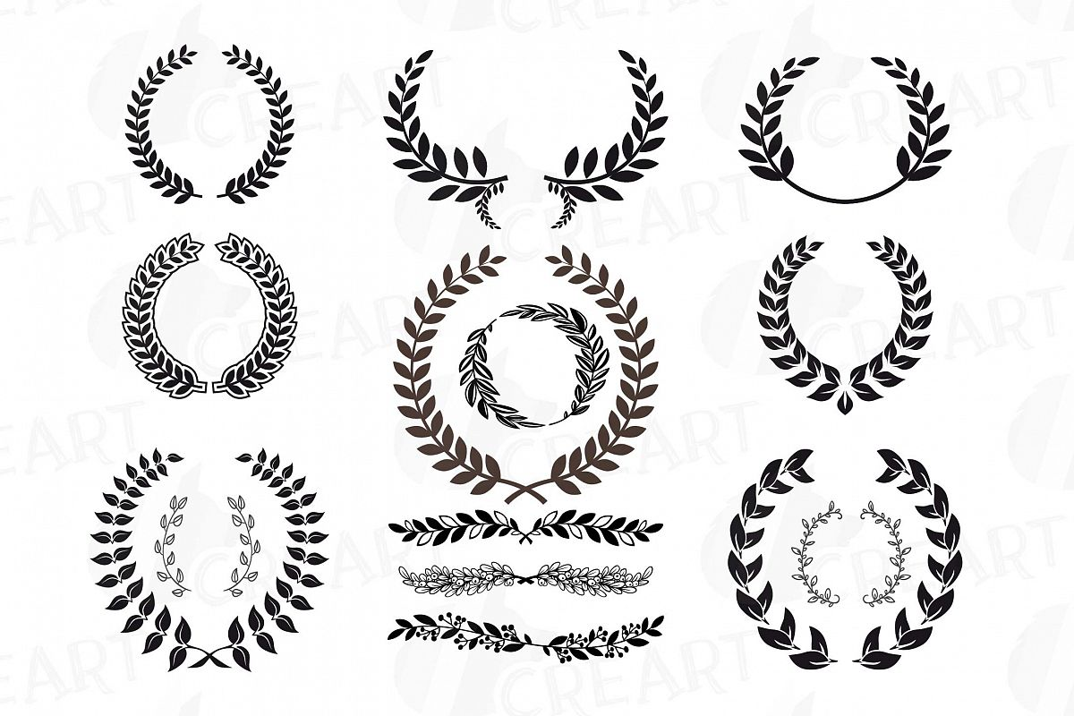 Laurel Wreath Clipart Monogram Frames Silhouette