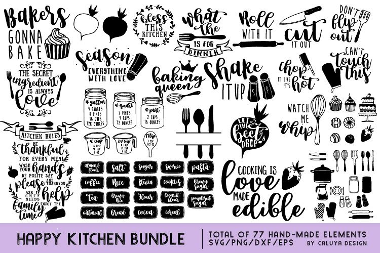 Download Happy Kitchen SVG Cut File Bundle