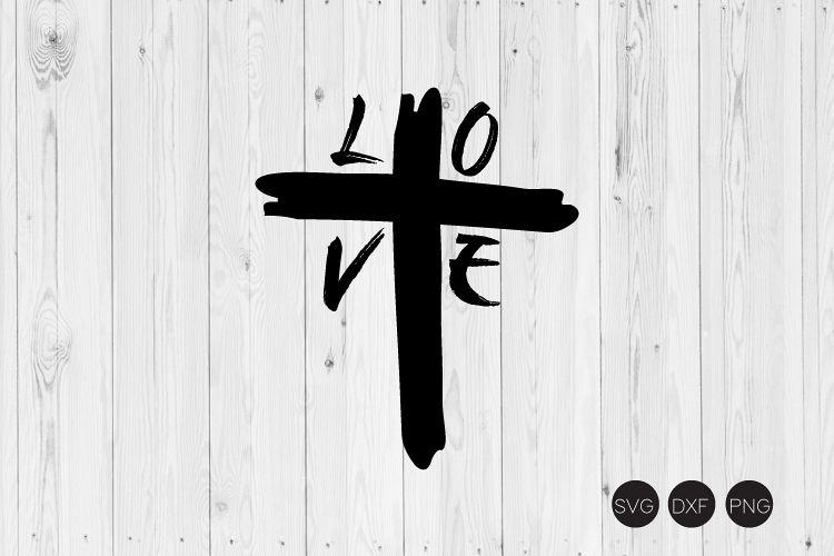 Download Love Cross Distressed SVG (407837) | Cut Files | Design ...
