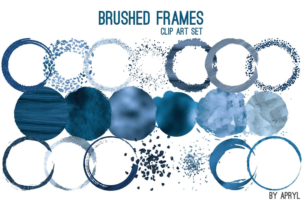 Blue Brush Stroke Round Frames