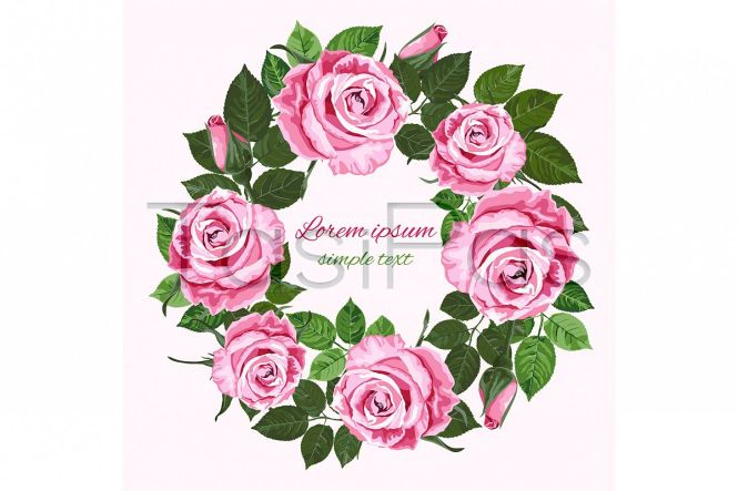 Vector Wedding Invitations With Pink Roses Wreath On The White