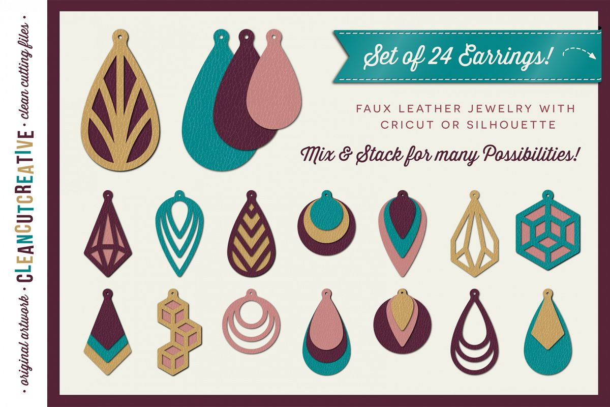 Set Of 24 Faux Leather Earrings SVG DXF EPS PNG Cricut