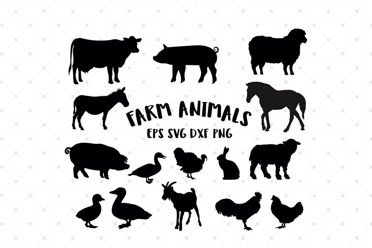 Farm Animals Silhouettes Svg Cut Files