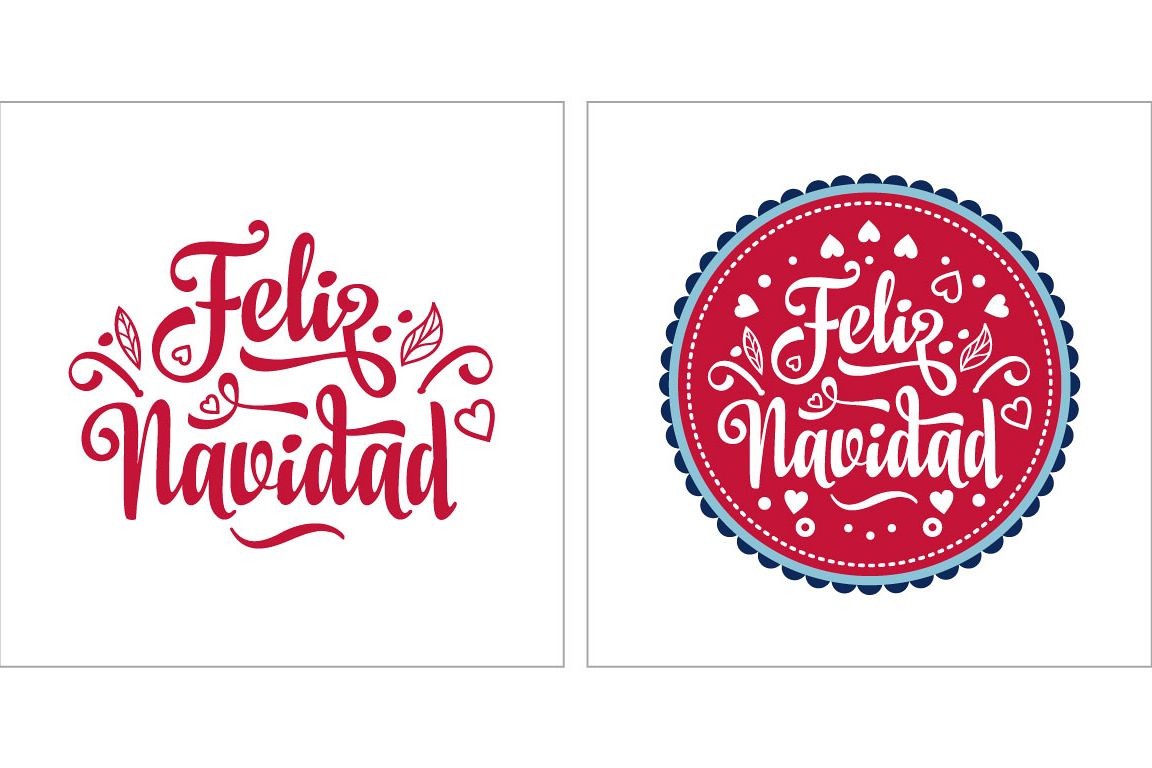 Merry Christmas Feliz Navidad Lettering Composition With