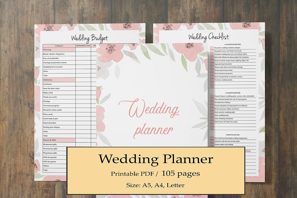 Wedding Planner Printable Wedding Binder Planner