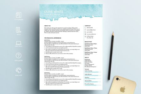 resume template word   blue watercolor resume template word   blue watercolor example image 1