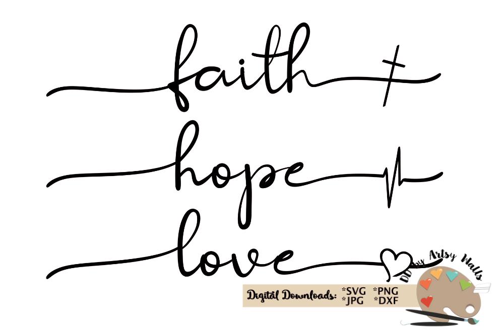 Download faith hope love svg Christian faith silhouette cricut file