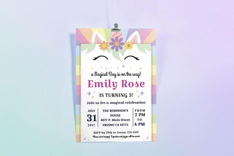 Happy Unicorn Birthday Party Invitation