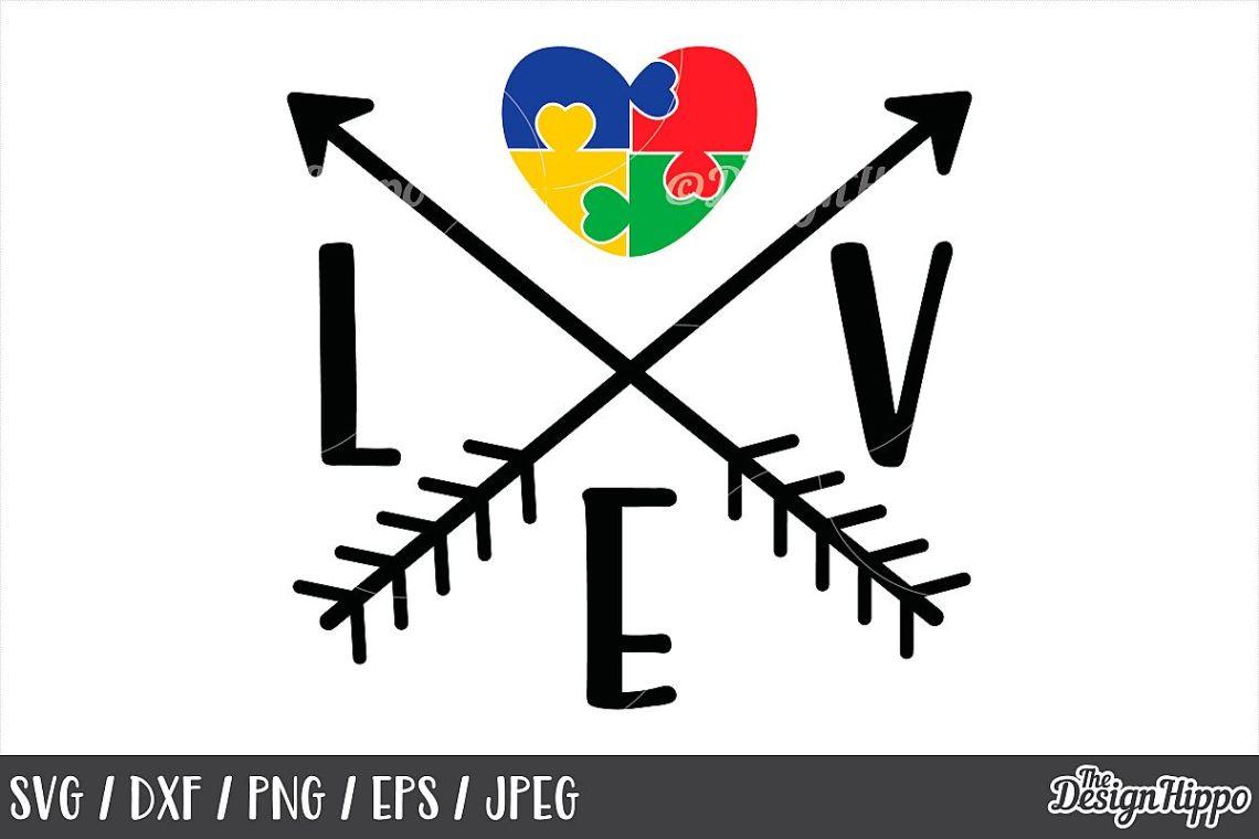 Download Autism Awareness, Love, Puzzle Pieces Heart, Arrows, SVG DXF