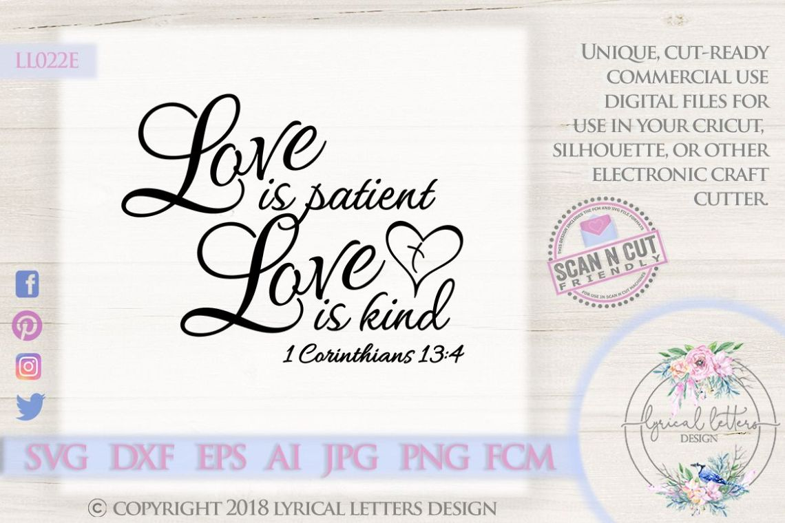 Download Love Is Patient Love is Kind 1 Corinthians 13 SVG DXF LL022E