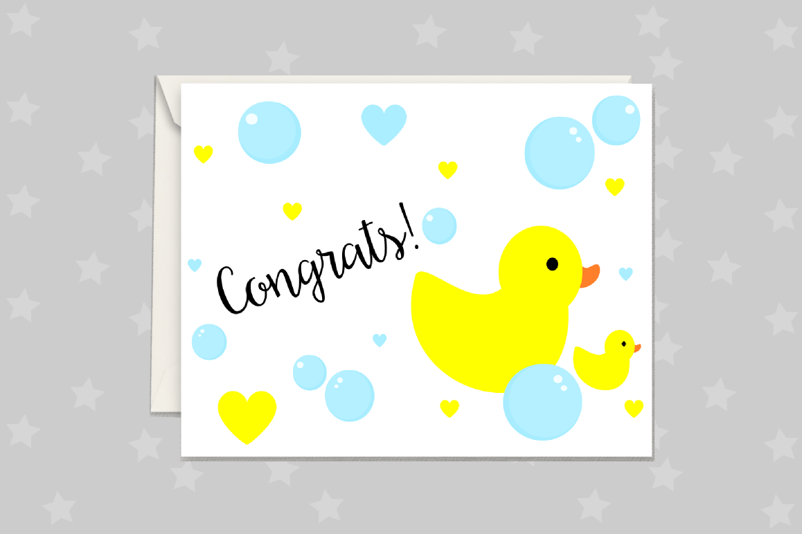 New Baby Card Rubber Duck Greeting Card Printable