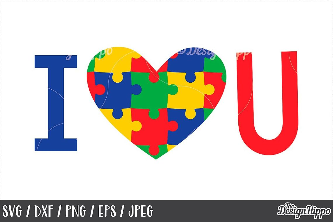 Download Autism Awareness, I Love You SVG, Autism Heart, DXF PNG JPEG