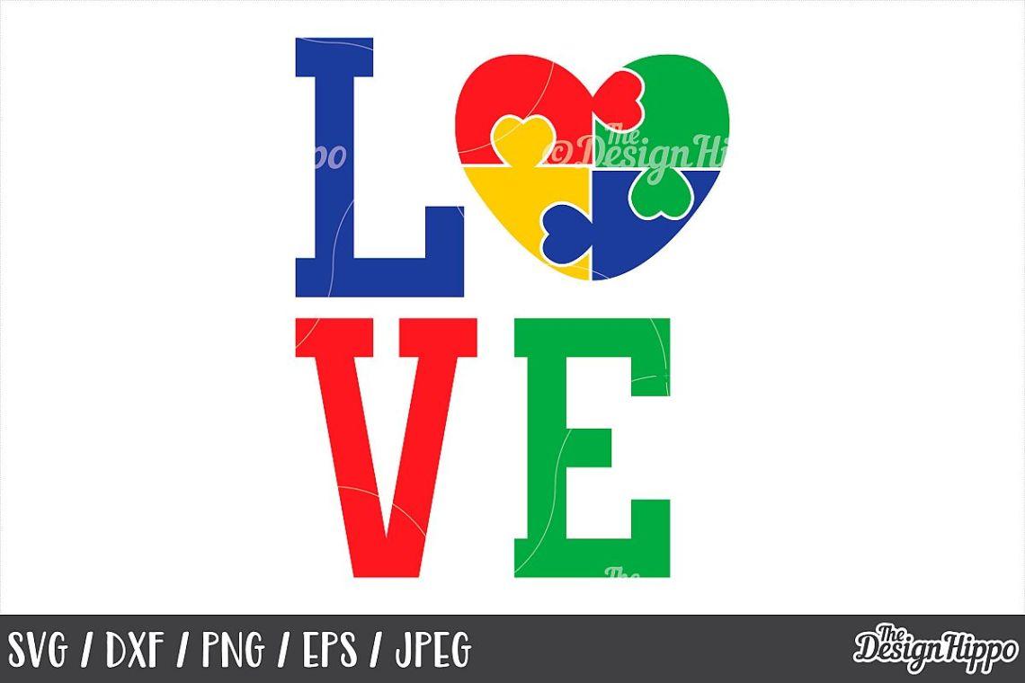 Download Love, Autism Heart, Puzzle Piece, SVG DXF PNG EPS Cut Files