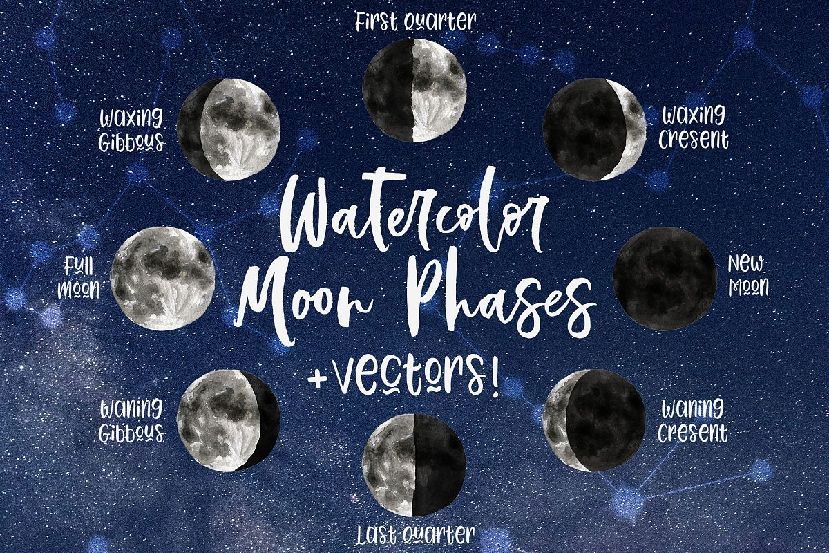 Watercolor Amp Vector Moon Phases Clip Art