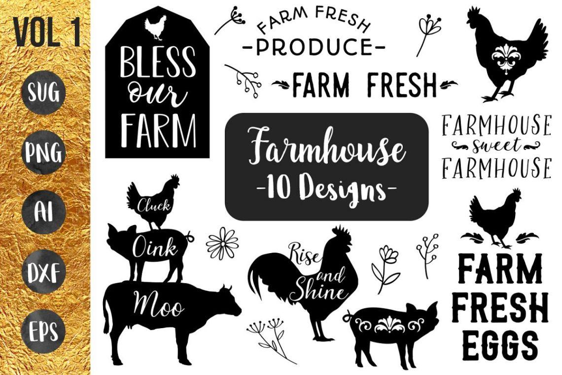 Download FARMHOUSE BUNDLE- 10 designs - svg files Cricut Silhouette