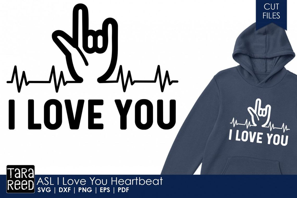 Download ASL I Love You Heartbeat - Sign Language SVG & Cut Files