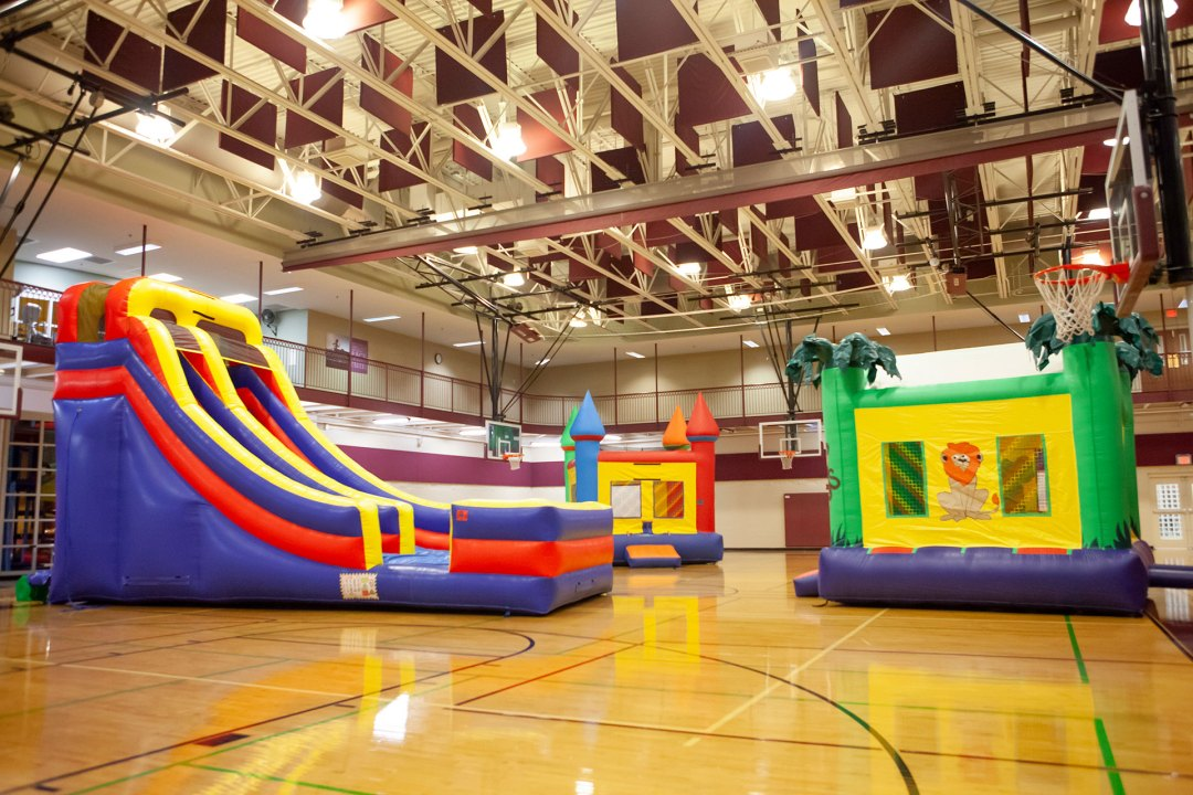 Inflatable bouncy houses and slide
