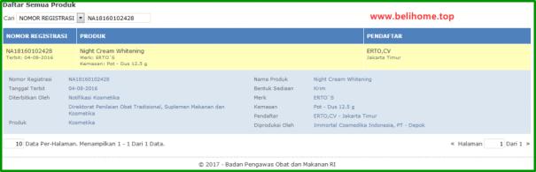 Nomor BPOM Ertos Night Cream