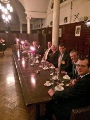 A portion of the head table at the conference's closing dinner. In the foreground is Robert Von Maier, conference organizer and editor of Global War Studies. Seated next to him is noted WWII historian Professor Richard Overy of the University of Exeter.