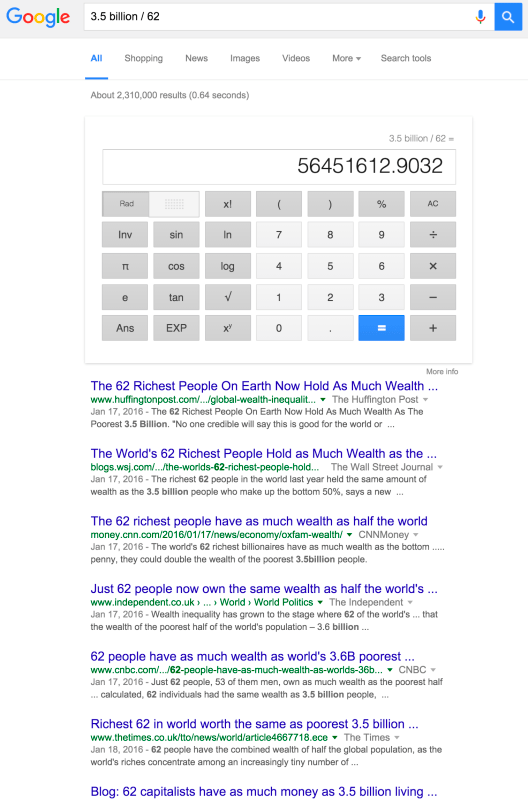 A simple search for the number 3.5 billion divided by 62 shows articles about wealth inequality in addition to the calculation