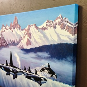 Herb Kane Orcas canvas gallery wrap