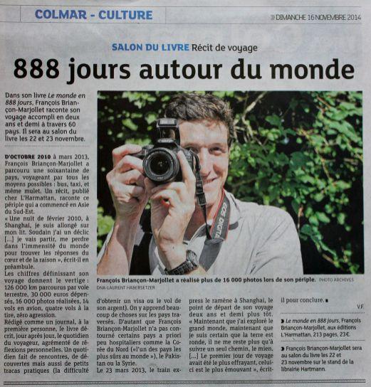 Dernières Nouvelles d'Alsace, 11/2014