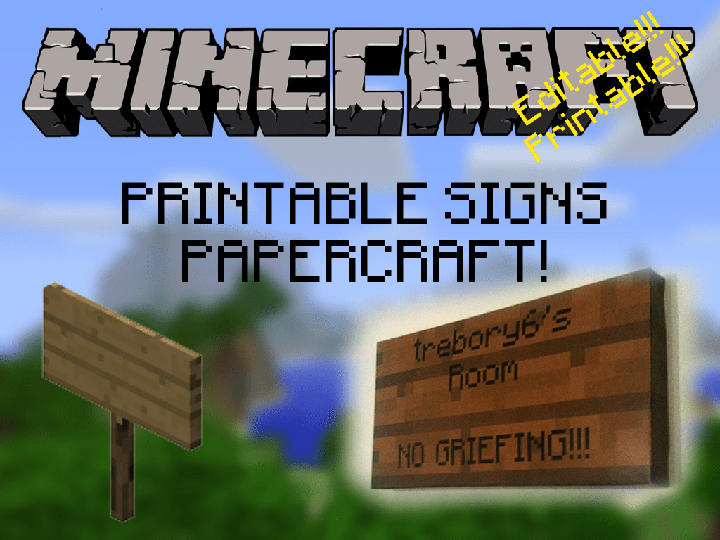 Customizable Printable Minecraft Signs By Trebory6 On